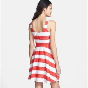 BB Dakota Stripe Fit And Flare Dress 8 EUC